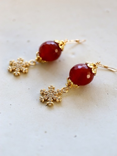 画像1: 14KGF carnelian snow crystal pierce