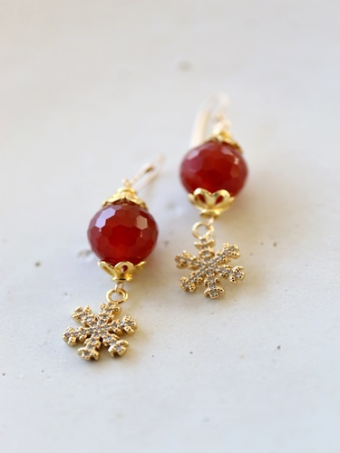 画像2: 14KGF carnelian snow crystal pierce