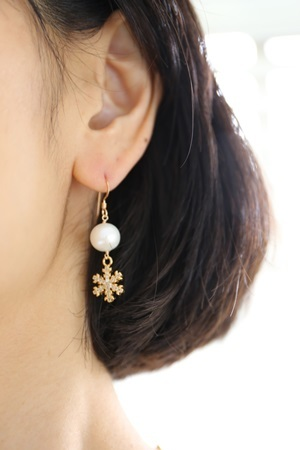 画像2: 14KGF snow crystal pearl pierce