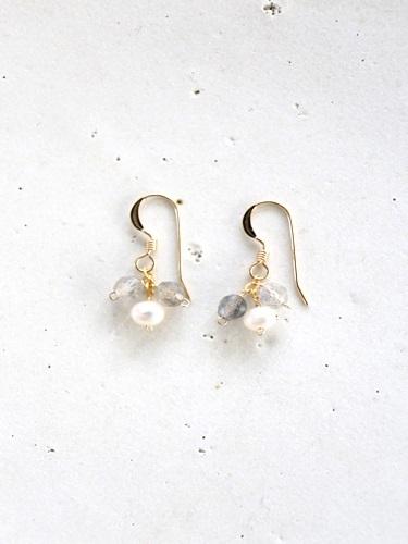画像1: 14KGF labradorite pearl pierce