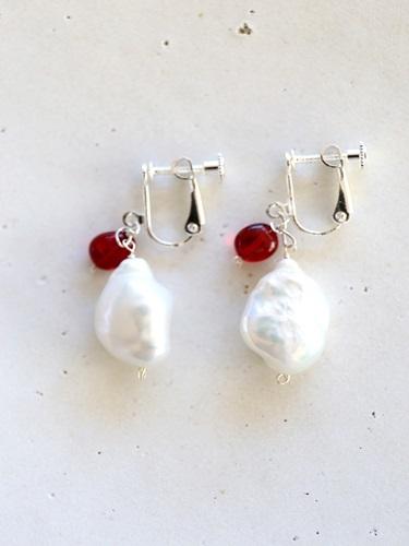 画像1: SILVER925 amber pearl earrings