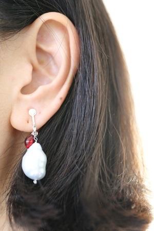 画像2: SILVER925 amber pearl earrings