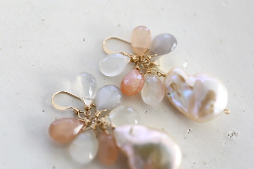 画像3: 14KGF  pearl moonstone pierce