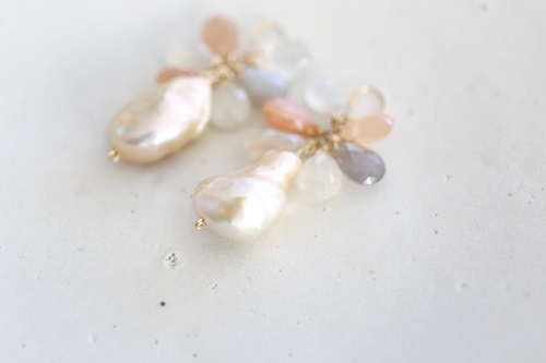 画像2: 14KGF  pearl moonstone pierce