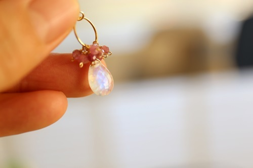 画像3: 14KGF moonstone tourmaline pierce