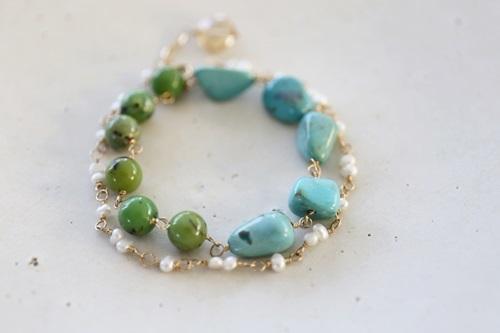 画像3: 14KGF turquoise pearl bracelet