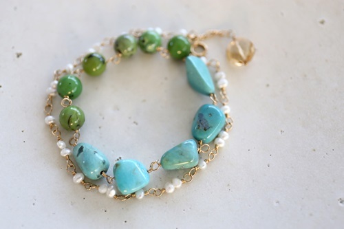 画像2: 14KGF turquoise pearl bracelet