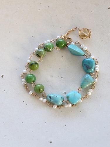 画像1: 14KGF turquoise pearl bracelet