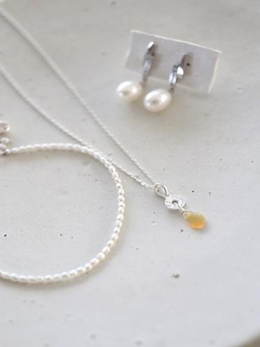画像1: SILVER925 pearl opal set