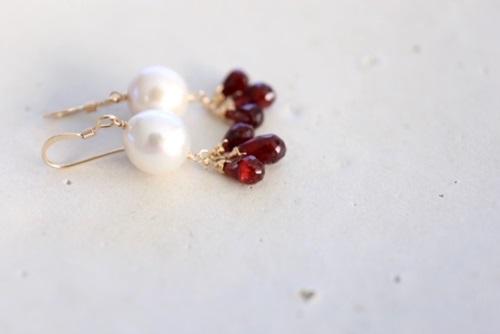 画像4: redgarnet pearl pierce necklace set