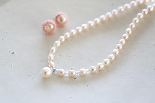 画像2: coralpierce&pearlnecklace set