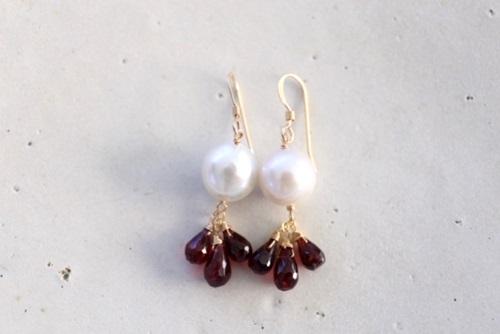 画像2: redgarnet pearl pierce necklace set