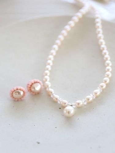 画像1: coralpierce&pearlnecklace set