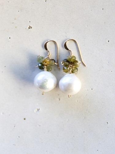 画像1: 14KGF garnet pearl pierce