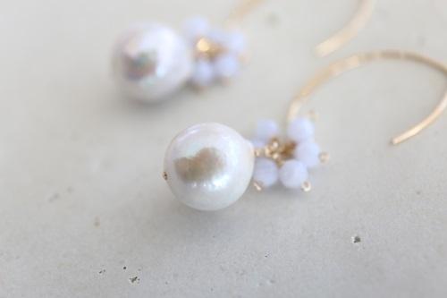 画像2: 14KGF blue chalcedony pearl pierce