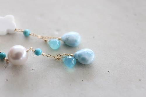 画像2: 14KGF larimar sea_blue_turquoise pierce