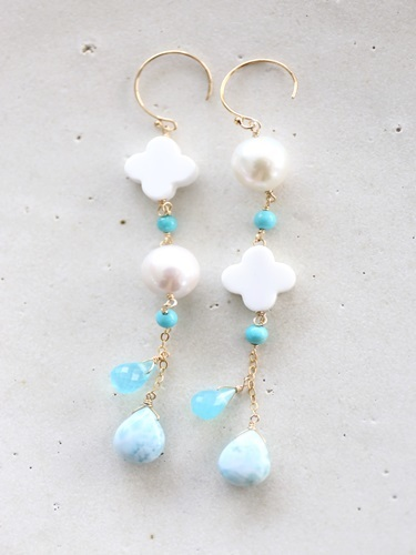 画像1: 14KGF larimar sea_blue_turquoise pierce
