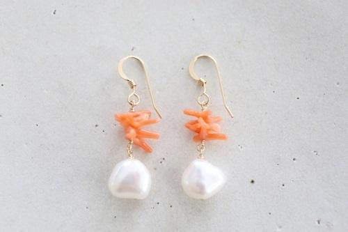 画像2: 14KGF coral pearl pierce