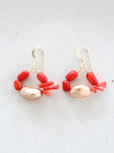画像1: 14KGF redcoral pearl pierce