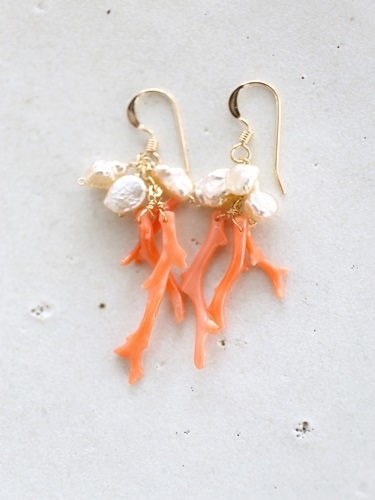 画像1: 14KGF coral goldpearl pierce