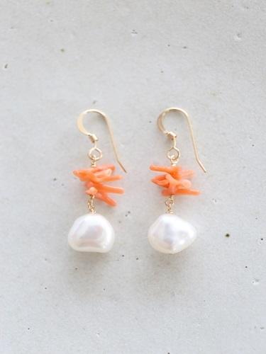 画像1: 14KGF coral pearl pierce