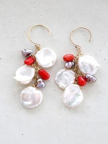 画像1: 14KGF coral baroque pearl  pierce
