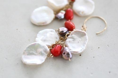 画像2: 14KGF coral baroque pearl  pierce