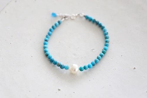 画像3: SILVER925  turquoise akoyapearl bracelet