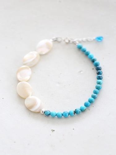 画像1: SILVER925 turquoise shell  bracelet