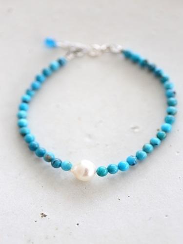 画像1: SILVER925  turquoise akoyapearl bracelet