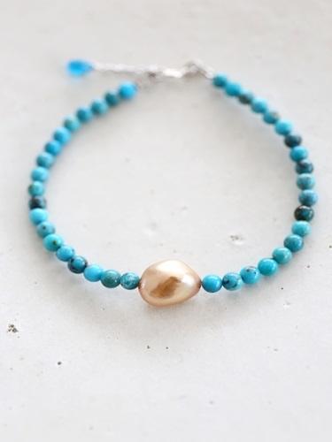 画像1: SILVER925  turquoise bracelet