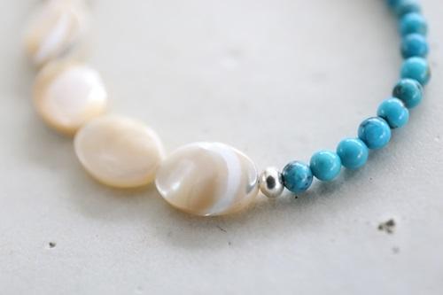 画像3: SILVER925 turquoise shell  bracelet