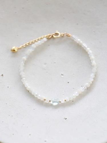 画像1: 14KGF  moonstone aquamarine bracelet