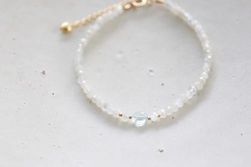 画像2: 14KGF  moonstone aquamarine bracelet