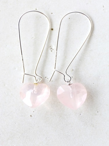 画像1: SILVER925 roze quartz heart pierce