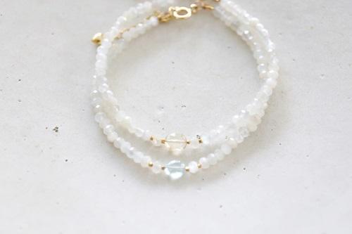 画像4: 14KGF  moonstone aquamarine bracelet