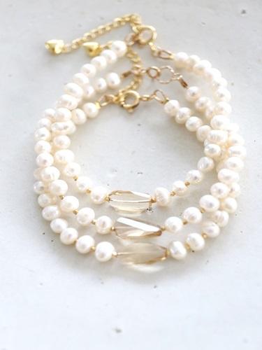 画像1: 14KGF pearl bracelet