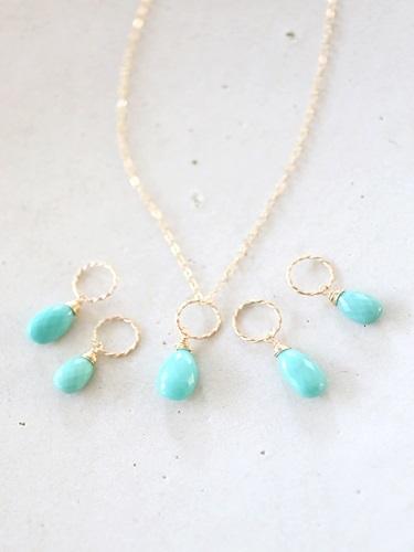 画像1: 14KGF Sleeping beautyturquoise necklace