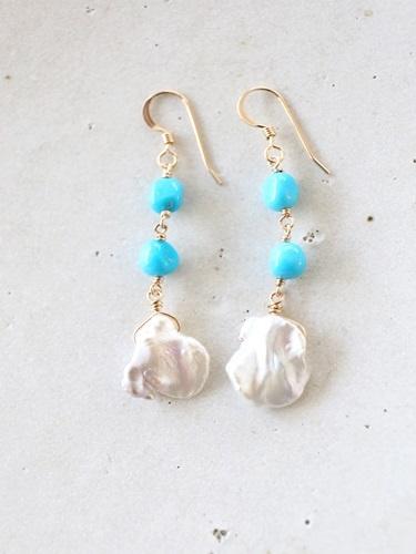 画像1: 14KGF turquoise pearl pierce