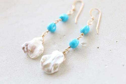 画像2: 14KGF turquoise pearl pierce