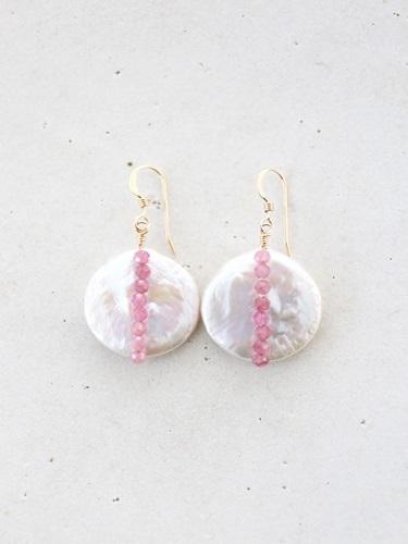 画像1: 14KGF pinktourmaline pearl pierce
