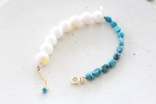 画像4: 14KGF turquoise shall bracelet