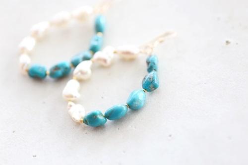画像3: 14KGF turquoise pearl  pierce
