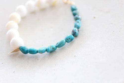 画像3: 14KGF turquoise shall bracelet