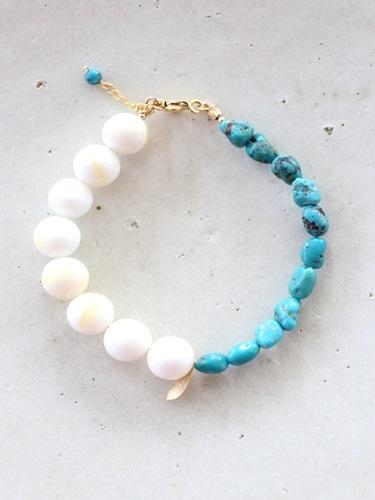 画像1: 14KGF turquoise shall bracelet
