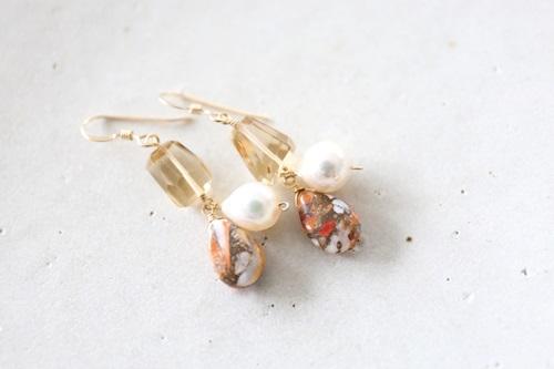 画像3: 14KGF oystercopperturquoise pearl pierce