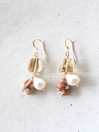 画像1: 14KGF oystercopperturquoise pearl pierce