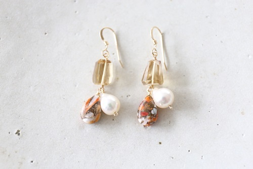 画像2: 14KGF oystercopperturquoise pearl pierce