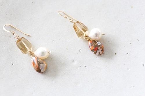 画像4: 14KGF oystercopperturquoise pearl pierce