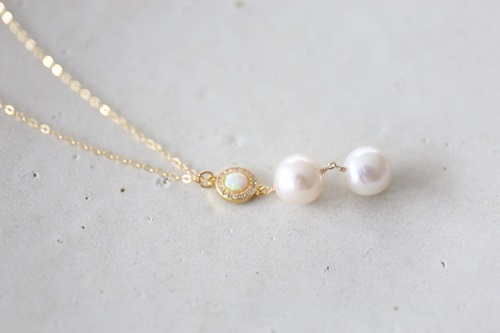 画像4: 14KGF opal  pearl necklace